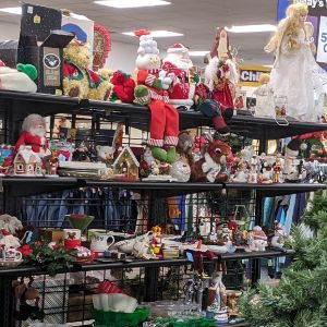 Christmas items display at Woodland Park Goodwill