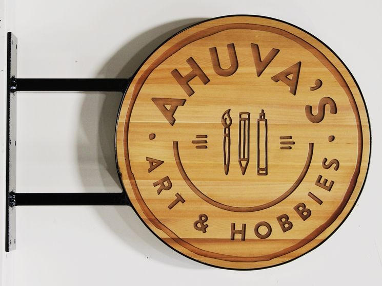 SA28500A - Engraved Cedar Wood  Sign for Ahuva's Art & Hobbies Store, with Side Bracket and Round Perimeter Steel Frame for Wall Mounting