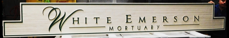 GC16110 - Carved and Sandblasted Wood Grain High-Density-Urethane (HDU) entrance  sign was made for the White Emerson Mortuary