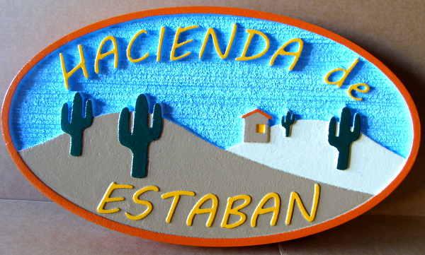 "M22953 - Sandblasted HDU Desert Home Sign ""Hacienda de Estaban"", with Cactus and Hills"