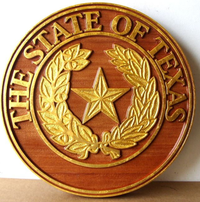 M7335 - Gold-Leafed Cedar Wall Plaque of the State of Texas Great Seal