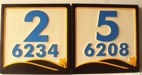 KA20904 - Carved Wood Apartment Number Plaques with Logo
