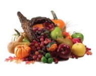 This is a picture of a cornucopia full of vegetables