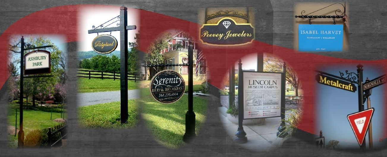 Product Line 4 - Examples of Wrought Iron and Aluminum Scroll Brackets,  Hangers, Posts, and Framess