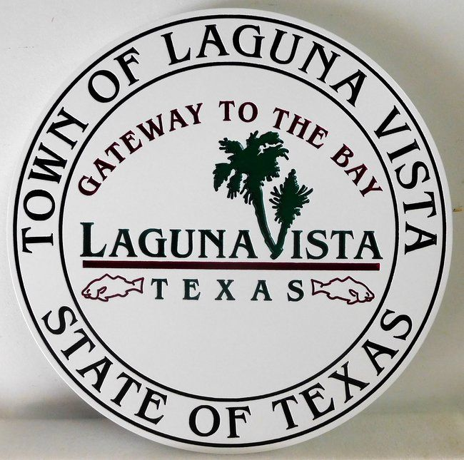 DP-1600 - Carved Plaque of the Seal of the Town of Laguna Vista, Texas,  Artist Painted