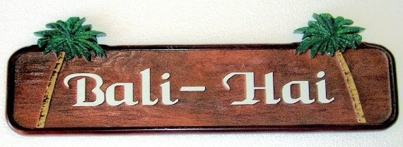 GB16835 - Carved Cedar Wood Sign  for the Bali-Hai Pool Bar, with Two Palm Trees as Artwork