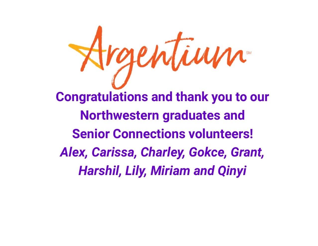 Argentium Senior Connections Volunteers of the Month