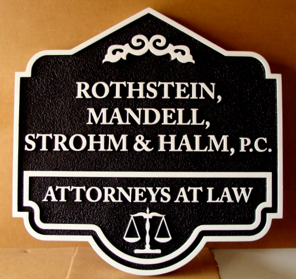 A10117 -  Carved and Sandlasted 2.5D Attorneys-at-Law Office Sign, Black & White