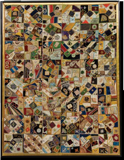 Crazy quilt, maker unknown, location unknown, circa 1880-1900, 55 x 41.5 in, IQSCM 1997.007.0608