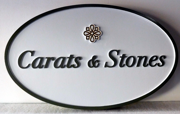 "SA28018 - Carved HDU Sign for a Jewelry Store, ""Carats and Stones""."