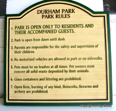 GA16554 -  Carved High Density Urethane on City Park Rules Sign