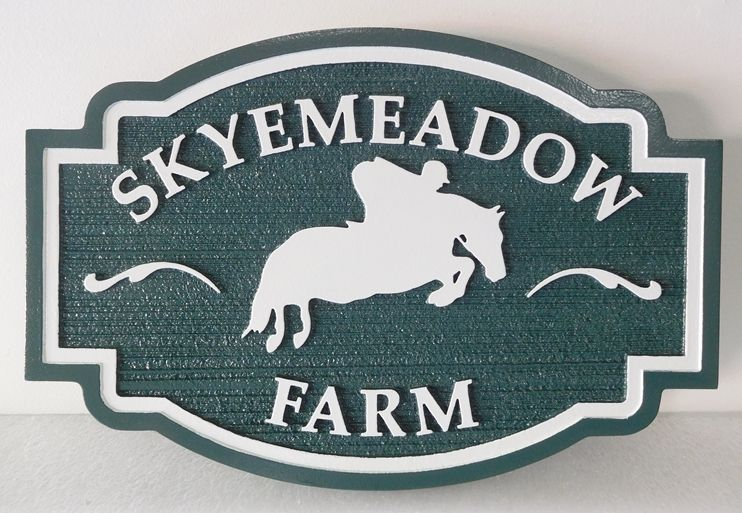 """P25315 - Carved and Sandblasted Wood Grain Entrance Sign for the """"Skyemeadow Farm""""   with a  Silhouette of an Horse and Rider Jumping over a Fence as Artwoirk"""