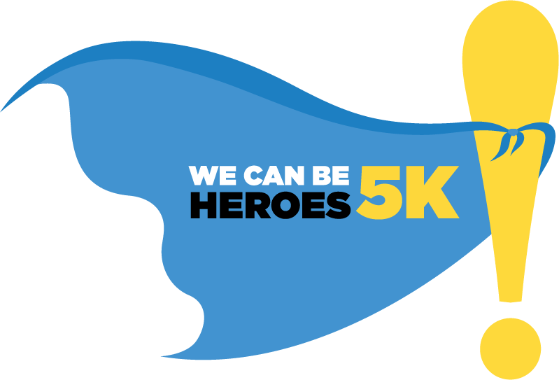 """We Can Be Heroes 5k Logo """"!"""" with cape"""
