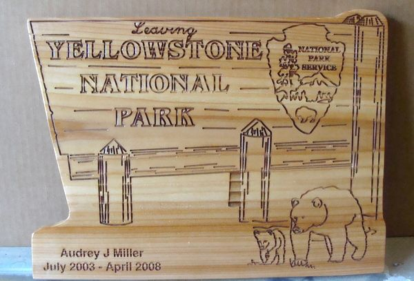 "G16082 - Carved Cedar Wood Sign for ""Leaving Yellowstone National Park with Bears and NPS ""Arrow"" Emblem"