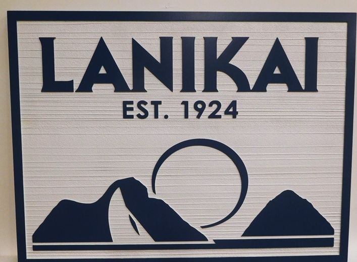 "M22260 - Carved High-Density-Urethane (HDU)  ""Lanikai""  Residence Name Sign, with Moon, Mountains and Sea as Artwork"
