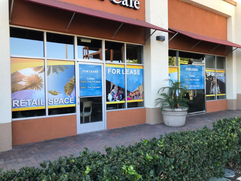 Commercial For Lease Window Graphics Orange County CA