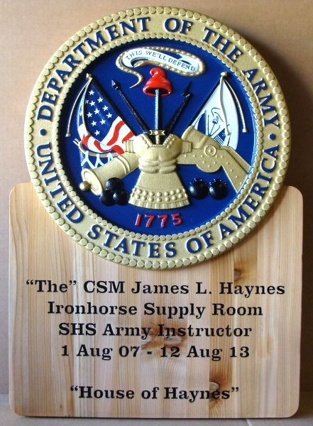 V31876 - Engraved Maple Name and Citation Plaque, with Full-Color 3-D Carved US Army Seal