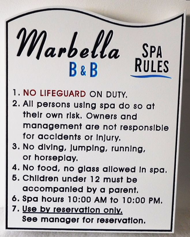 GB16270 - Engraved High-Density-Urethane (HDU) Spa Rules Sign for the MarbellaB&B