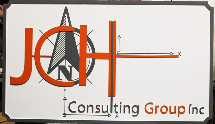 S28221 - Carved 2.5-DHDU Sign for the JCH Consulting Group, with Logo as Artwork
