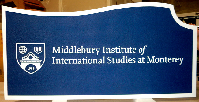 FA15563 - Carved and Sandblasted Entrance Sign for Middlebury Institute of International Studies, 2.5-D