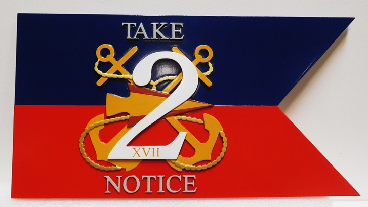 """JP-1322 - Carved Plaque of a Pennant for a Unit of the US Navy """"Take Notice"""", 2.5-D Multi-Level Raised Relief, with Two Anchors"""
