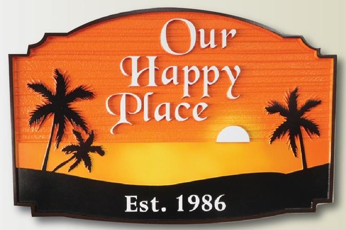 "L21237 - Carved Coastal Residence name sign , ""Our Happy Place"", features the Ocean, a Setting Sun, and Palm Trees as Art."