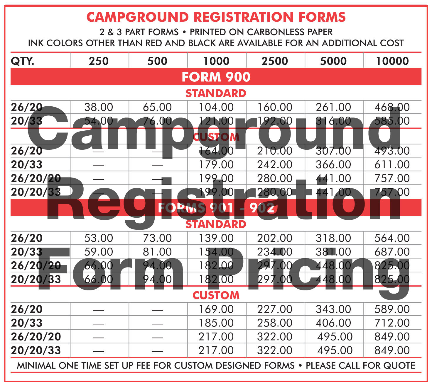 Campground Registration Form Pricing