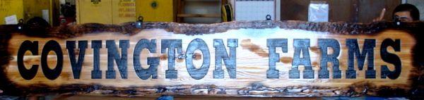 """O24957 - Rustic Sandblasted Cedar Sign for """"Covington Farms"""""""