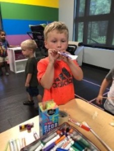 Boy creating craft