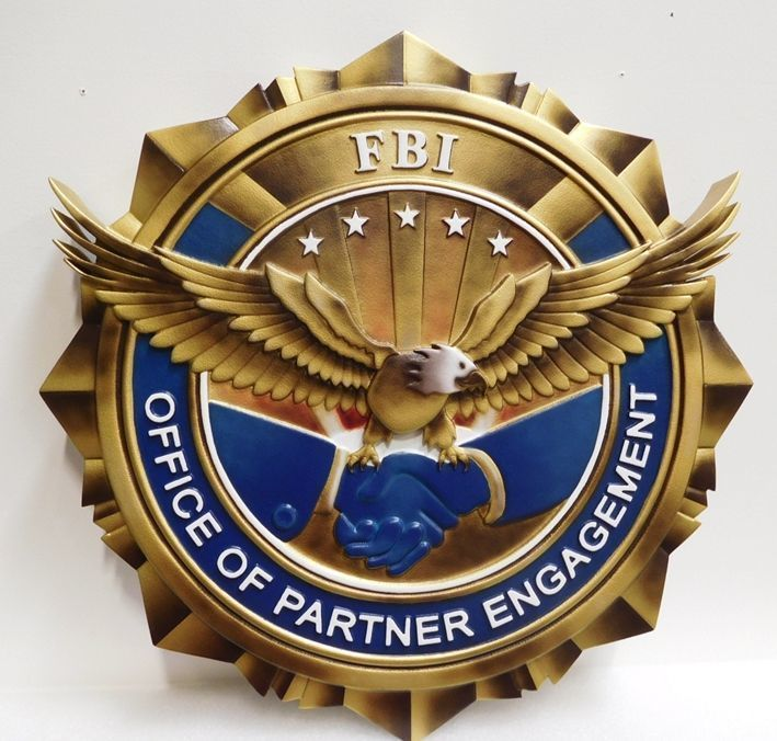 U30366 - Carved 3-D HDU Plaque of the Seal of the FBI's Office of Partner Engagement