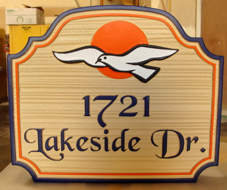 M22724 - Carved, Wood Look HDU Lakeside Vacation Home Sign with Bird (Seagull) in Flight and Setting Sun
