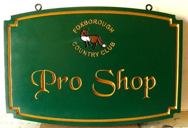 E14208 - Engraved Golf  Pro Shop Sign, with 24K Gold