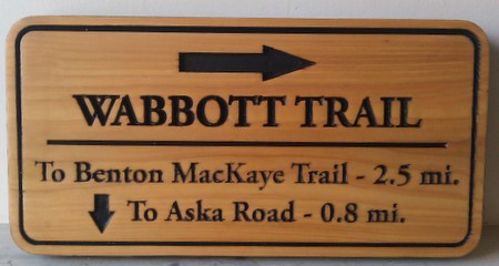G16121 - Natural Cedar Engraved Wabbott Trail Sign, with Arrows