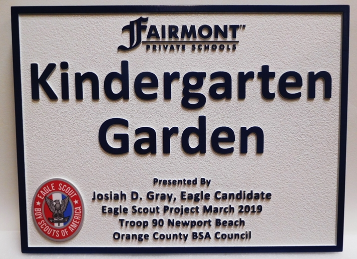 "GA16533 - Carved High-Density-Urethane (HDU)  Sign ""Kindergarten Garden""  Was Made for  an Eagle Scout Project."