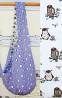 Owl Reversible Sling Bag - Lavender and Cream