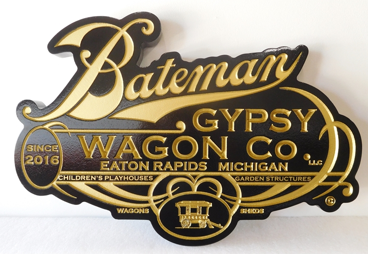 "SA28006A - Carved and Engraved High-Density-Urethane sign for the Bateman ""Gypsy Wagon Company"""