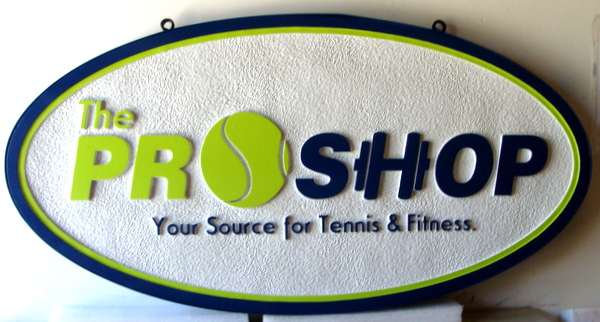 "SA28479 - Carved HDU  Sign for ""Pro Shop -   Source for Tennis and Fitness""."