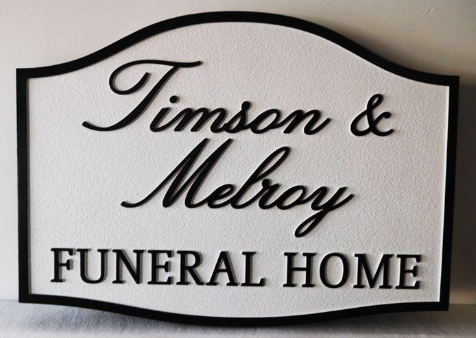 GC16115 - Carved High-Density-Urethane (HDU) EntranceSign for the Timson &  Melroy Funeral Home