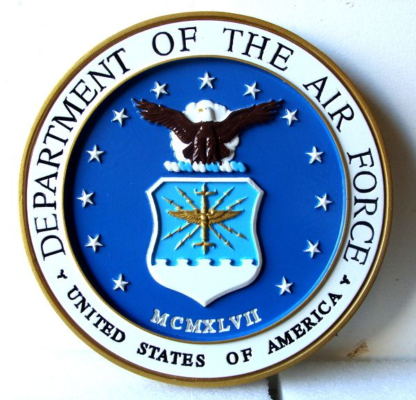 V31502 - Carved 3-D Mahogany Wall Plaque of the Seal of the US Air Force