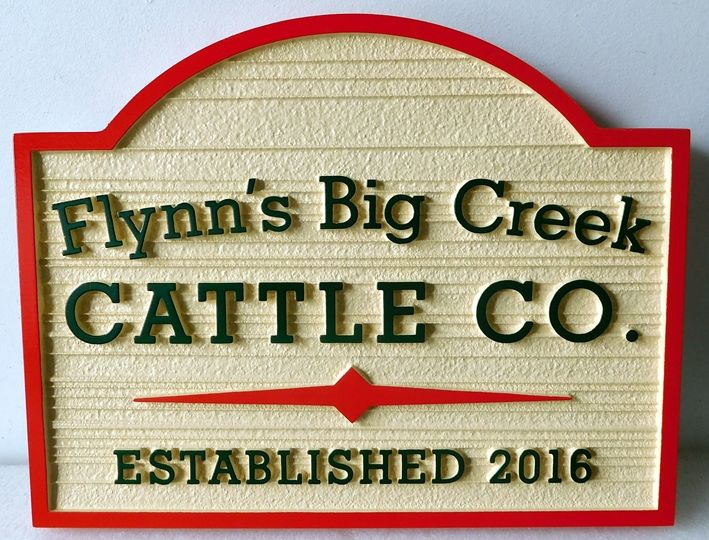 O24135 -- Carved and Sandblasted  2.5-D  HDU Sign for Flynn's Big Creek Cattle Company