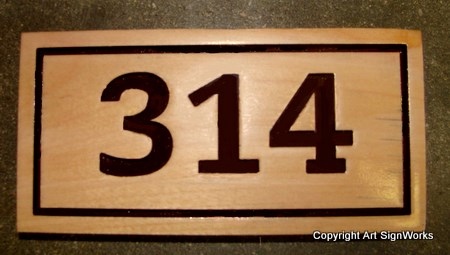 KA20878 - Engraved Cedar Wood Address Number Wall Plaque