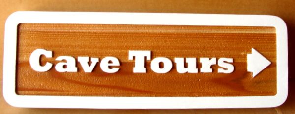 G16354 - Outdoor Cedar Directional Sign with Outline Letters and Arrow for Cave Tours