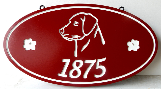 M22934 - Engraved Address Number Sign with Dog's Head