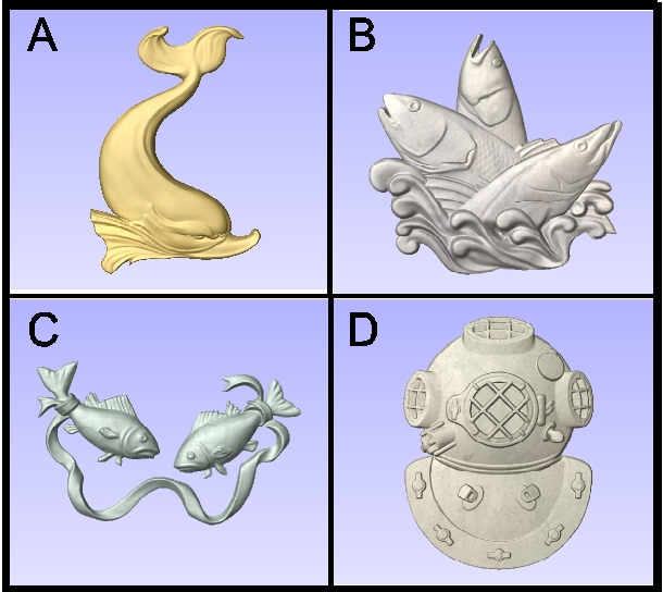 L22042 - 3-D Carved Stylized Fish and Divers Helmet