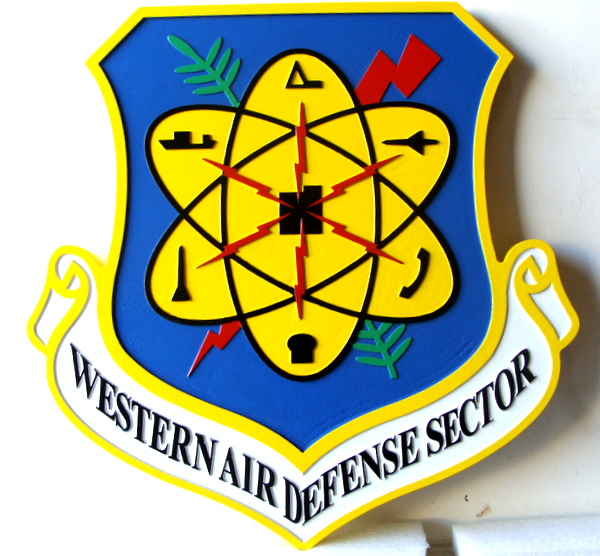 LP-1640 - Carved Shield Plaque of the Crest of the Western Air Defense Sector, Artist Painted