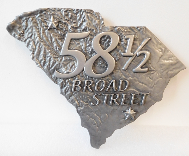 I18123 - Carved 3D Address Sign, with Street Number on a Topograhic Map of South Carolina, German Silver Plated,