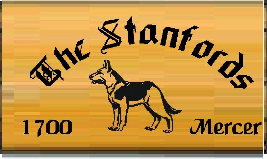 """I18625 - Engraved Cedar Property Name Sign """"The Stanfords"""". with a German Shepherd Dog as Artwork."""