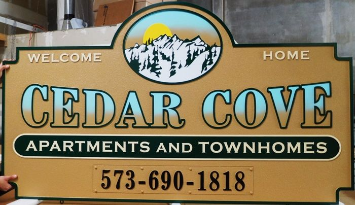 "K20187 - Carved HDU Entrance Sign for  the ""Cedar Grove"" Apartment and Townhomes Complex, with Artist-Painted Mountains"