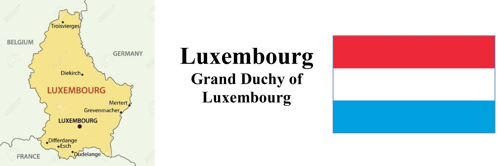 Luxembourg Map & Flag