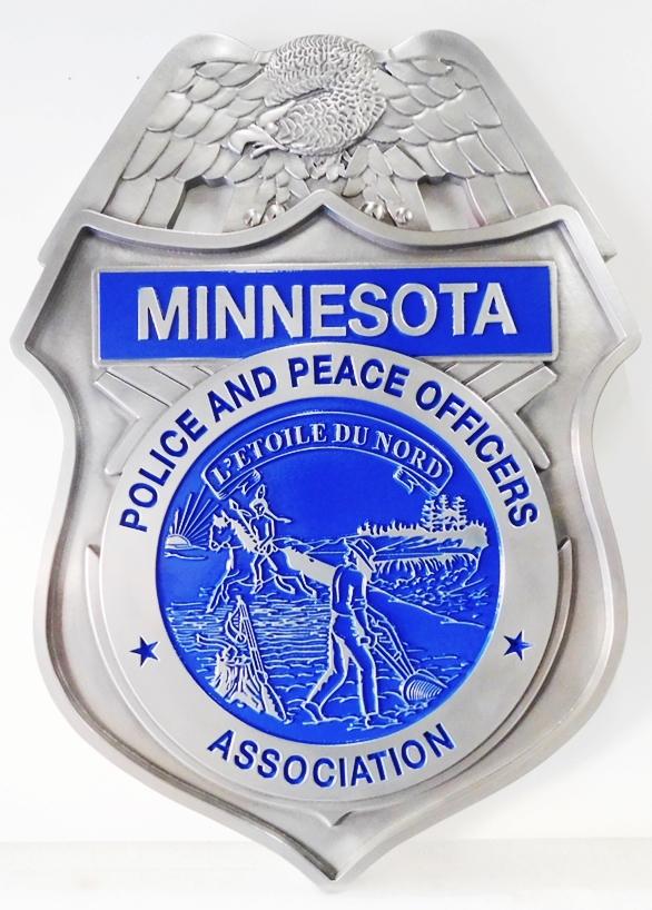 MD4205 -  Police Badge, Minnesota,  Aluminum 3-D